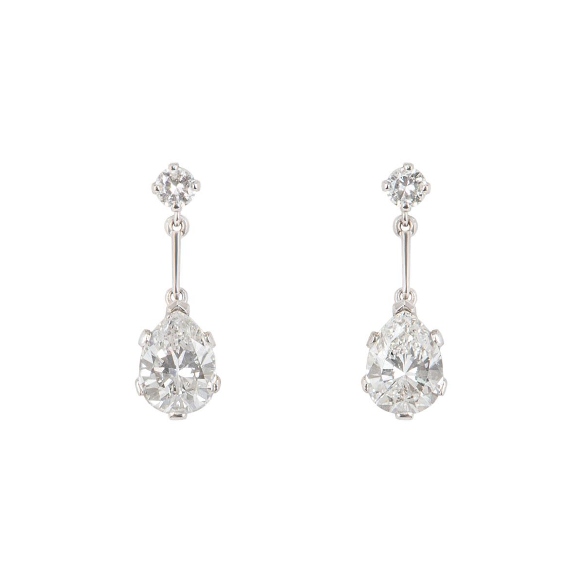 White Gold Diamond Pear Drop Earrings